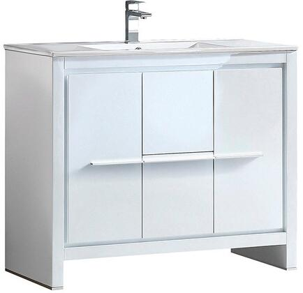Allier FCB8140WH-I 40 inch  Single Sink Vanity with 2 Soft Closing Doors  2 Soft Closing Drawers and Integrated Sink in
