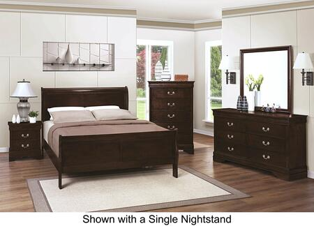 Louis Philippe 202411FDM2NC 6-Piece Bedroom Set with Full Sleigh Bed  Dresser  Mirror  2 Nightstands and Chest in Cappuccino