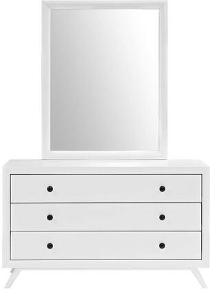 Tracy Collection MOD-5310-WHI-SET Dresser and Mirror with 3 Easy-Glide Drawers  Mid-Century Modern Style  Antique Metal Knobs  Platform Leg Base  Rubebrwood