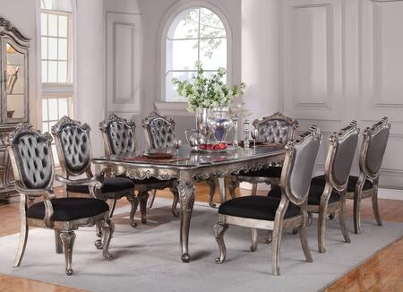Chantelle Collection 605409PC 9 PC Dining Room Set with Dining Table  6 Side Chairs and 2 Arm Chairs in Antique
