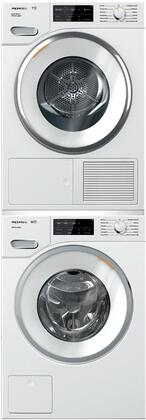 White Stacked Front Load Laundry Pair with WWF060WCS 24 inch  Front Load Washer  TWI180WP 24 inch  Electric Dryer
