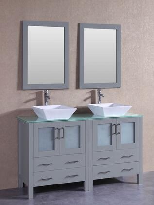 AGR230SQCWG 60 inch  Double Vanity with Clear Tempered Glass Top  Flared Square White Ceramic Vessel Sink  F-S02 Faucet  Mirror  4 Doors and 4 Drawers in
