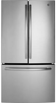 GNE27ESMSS 36 French Door Refrigerator with 27 cu. ft. Total Capacity  LED lighting  Factory Installed Icemaker  Spill-Proof Shelves  and Advance