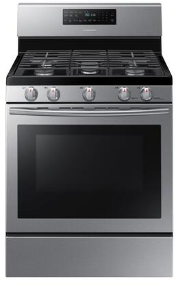 "NX58H5600SS 30"" Freestanding Gas Range with 5.8 Cu. Ft. Oven Capacity  5 Burners  Self Clean  Convection and Pilotless Electronic Ignition  in Stainless"