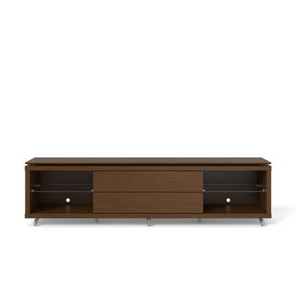 """Lincoln 2.2 Collection 17351 85"""" TV Stand with Silicone Casters  4 Shelves and 2 Telescopic Drawer Slides in Nut"""