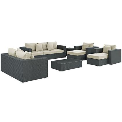 Sojourn Collection EEI-1881-CHC-BEI-SET 9-Piece Outdoor Patio Sunbrella Sectional Set with Loveseat  Sofa  Rectangle Ottoman  2 Armchairs  2 Ottomans and 2