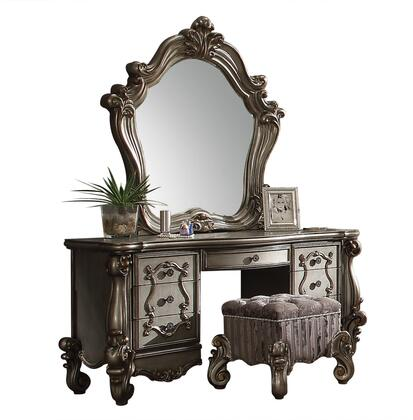 Versailles Collection 26847SET 3 PC Vanity Set with Vanity Desk  Mirror and Vanity Stool in Antique Platinum