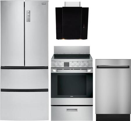 4-Piece Kitchen Package with HRF15N3AGS 28 inch  French Door Refrigerator  HCR2250AES 24 inch  Electric Freestanding Range  QDT125SSKSS  18 inch  Built In Dishwasher and