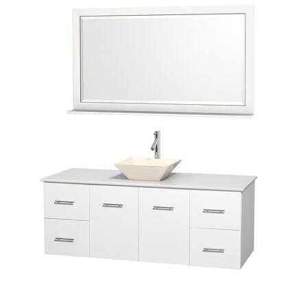 Wcvw00960swhwsd2bm58 60 In. Single Bathroom Vanity In White  White Man-made Stone Countertop  Pyra Bone Porcelain Sink  And 58 In.