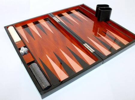 LAC301BK 18 inch  Backgammon Set with Instructions  Dice  Playing Cups  and Chips: Lacquer