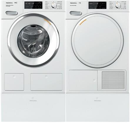 White Front Load Laundry Pair with WWH860WCS 24 inch  Front Load Washer  TWF160WP 24 inch  Electric Dryer  and