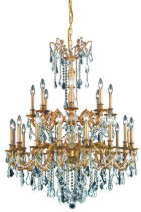 9224G36FG/EC 9224 Rosalia Collection Large Hanging Fixture D36in H43in Lt: 24 French Gold Finish (Elegant Cut