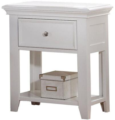 Lacey Collection 30598 22 inch  Nightstand with 1 Drawer  Bottom Shelf  Nickel Metal Knobs  Tapered Legs and Pine Wood Construction in White