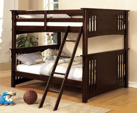 Spring Creek Collection CM-BK603EXP-BED Full Size Bunk Bed with Angled Ladder  10 PC Slats Top/Bottom  Solid Wood and Wood Veneer Construction in Dark Walnut