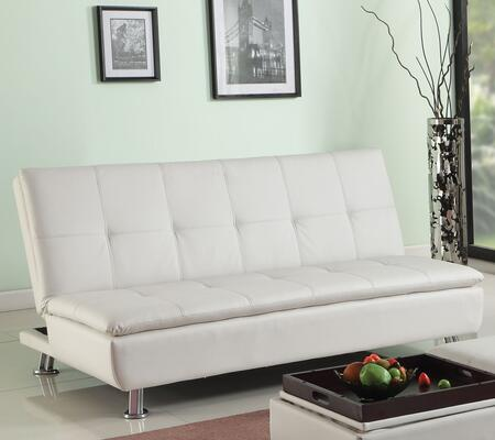 Derrick Collection 57143 67 inch  Adjustable Sofa with Metal Legs  Tufted Cushions and Bycast PU Leather Upholstery in White