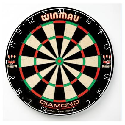 WIN400 Diamoond Regulation Size 18 inch  x 1.5 inch  Bristle Dartboard with Thin Diamond Angled Wire Spider and Staple Free