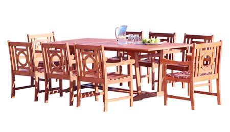 V232SET38 Malibu Outdoor 9-Piece Wood Patio Dining Set With Extension