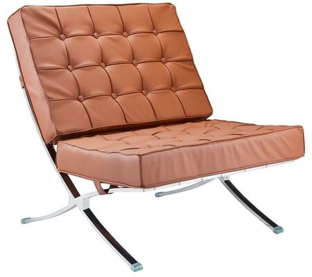 FMI4000P-LIGHT BROWN Pavilion Chair with Italian Leather  Stainless Steel Frame and Button Tufted Details in Light