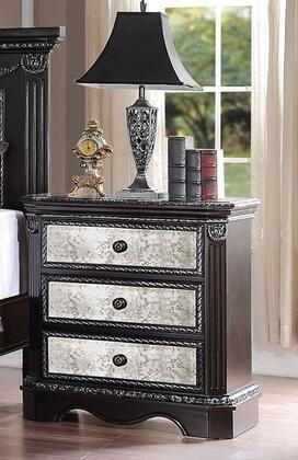 Athena Collection 20923 30 inch  Nightstand with 3 Mirror Insert Drawers  Bronze Metal Hardware and Pine Wood Construction in Espresso