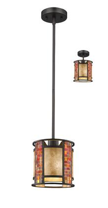 Parkwood Z8-55MP-C 8 inch  1 Light Mini Pendant Craftsman  Tiffanyhave Steel Frame with Bronze finish in White Mica and