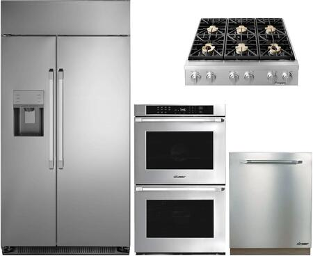 4-Piece Stainless Steel Kitchen Package with DYF42SBIWS 42 inch  Side by Side Refrigerator  DYRTP366SLP 36 inch  Liquid Propane Rangetop  RNWO227FS Double Wall Oven  and
