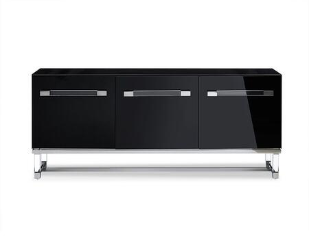 SB1456BLK Brianna Buffet  High Gloss Black  Polished Stainless Steel Frame  Acrylic Legs And