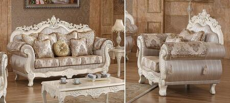 Serena 691-S-C 2 Piece Living Room Set with Sofa and Chair in Pearl White