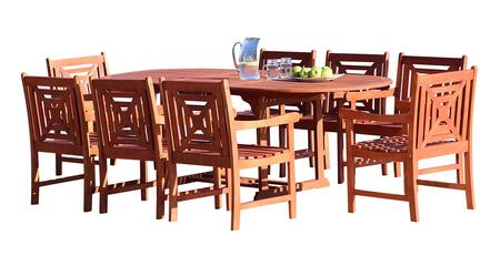 V144SET38 Malibu Outdoor 9-Piece Wood Patio Dining Set With Extension