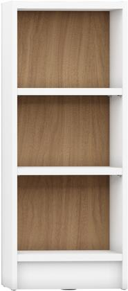"""Greenwich Collection 160453 17"""" 3-Shelf Narrow Tall 1.0 Bookcase with 3 Adjustable Shelves  Sleek Metal Hardware and Closed Base in White Matte and Maple"""