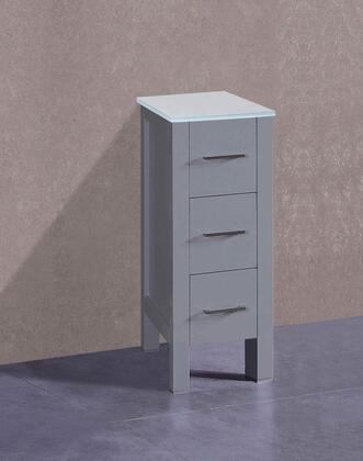 AGREWG1S 12 inch  Side Cabinet with 3 Drawers  Clear Tempered Glass Top and Solid Oak Construction in