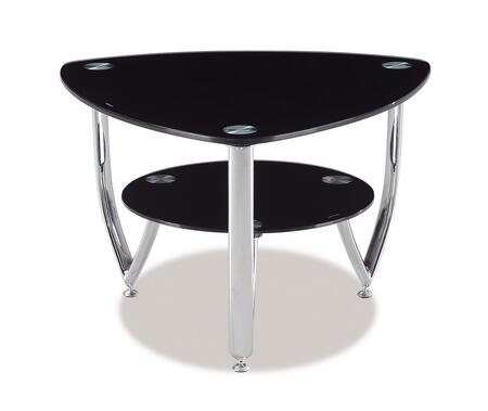 A091E Black Geometrical Glass Top End Table with Glass