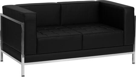 ZB-IMAG-LS-GG HERCULES Imagination Series Contemporary Black Leather Love Seat with Encasing