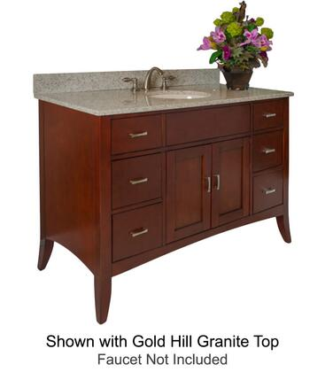 Metro Collection 385-4800-AB 48 inch  Sink Vanity with Flared Legs  2 Doors  6 Drawers  Brushed Nickel Hardware and Water Resistant Brown Cherry Finish with Black