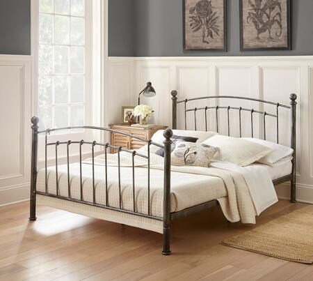 London Collection MFP02453TW Twin Size Platform Bed with Antique Metal Finish and Modern Style in Rubbed