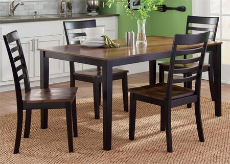 Cafe Collection 56-CD-5RLS 5-Piece Dining Room Set with Rectangular Dining Table and 4 Side Chairs in Black and Cherry