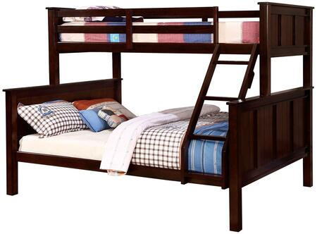 Gracie Collection CM-BK930TQ-BED Twin Over Queen Size Bunk Bed with Angled Ladder  Slat Kit Included  Solid Wood and Wood Veneer Construction in Dark Walnut