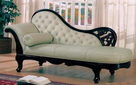 100IVORYCHA Traditional Chaise with Hand Carved Wood Frame  Exquisite Details and Genuine Italian Leather Upholstery in