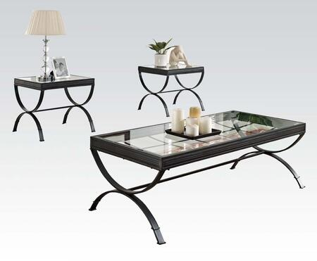 Quintin Collection 80077 3 PC Living Room Table Set with 5mm Clear Tempered Glass Top and Metal Tube Frame in Black