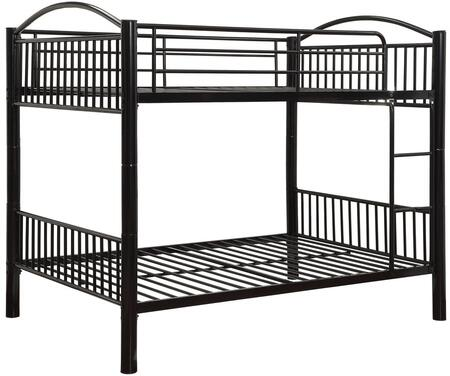 Cayelynn Collection 37390BK Full Over Full Size Bed with Built-in Front Ladder  Easy Access Guard-Rail  Slatted Panels  Slat System Included and Metal Tube