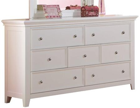 Lacey Collection 30601 58 inch  Dresser with 7 Drawers  Raised Recessed Panels  Nickel Metal Knobs  Tapered Legs and Pine Wood Construction in White