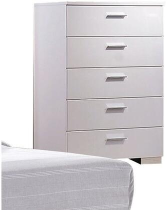 Lorimar Collection 22636 35 inch  Chest with 5 Drawers  Aluminum Hardware  Side Metal Glide Drawer and High Gloss Finish in White
