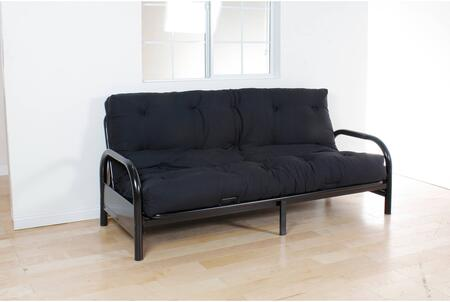 Nabila Collection 02798BK 8 inch  Queen Size Futon Mattress with Tufted Poplin Fabric  Reversible  Made in USA  Blended Cotton and Polyester Fiber Batting in Black