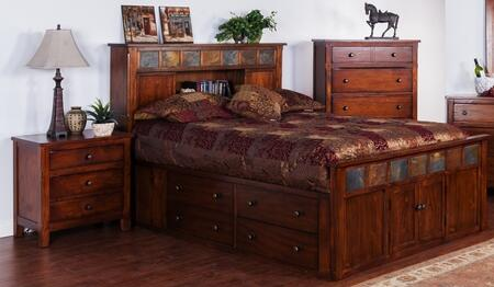 Santa Fe Collection 2334dcsqbbedroomset 2-piece Bedroom Set With Storage Queen Bed And Nightstand In Dark Chocolate