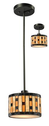 Raya Z8-51MP-C 8 inch  1 Light Mini Pendant Craftsman  Tiffanyhave Steel Frame with Java Bronze finish in Multi Colored