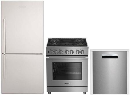 3-Piece Kitchen Package with BRFB1822SSN 30 inch  Bottom Freezer Refrigerator  BDFP34550SS 30 inch  Freestanding Dual Fuel Range  and DWT58500SS 24 inch  Built In Fully