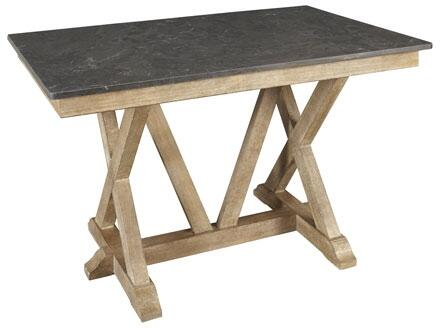 West Valley WVARW6700 60 inch  Rectangular Gathering Height Table with Bluestone Top  Solid Poplar Construction and Light Distressing in Rustic Wheat