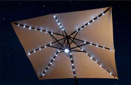 NU6255 Santorini II Fiesta 10' Square Canopy Cantilever Umbrella with Active Solar Cells  LED Lights  Dual On/Off Switches Single Wind Vent  Rugged Anodized