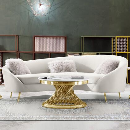 """Celine_Collection_CELINESOCM_99""""_Curved_Sofa_with_Contoured_Back_in_Velvet_Upholstery__Piped_Stitching_and_Gold_Stainless_Steel_Legs_in"""