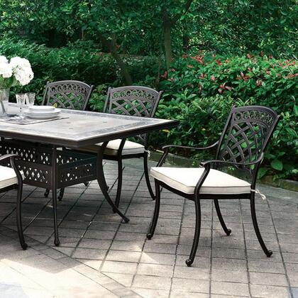Charissa CM-OT2125-T Patio Dining Table with Contemporary Style  Glassfi ber Reinforced Concrete Top  Mosaic Details  Umbrella-Ready in Antique Black