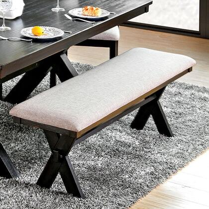 Xanthe CM3172BN Bench with Transitional Style  X-Cross Back Design  Padded Fabric Cushions  Solid Wood  Wood Veneer  Others* in